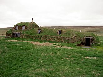 Earth shelter - Turf house in Sænautasel, Iceland.