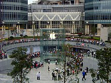 apple aficionados wait in line around the apple store in anticipation of a new product apple head office london