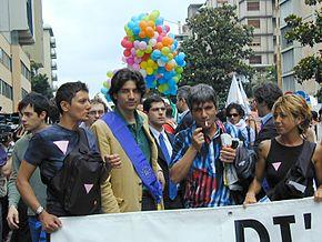 Imma Battaglia al Padova Pride del 2002 con Marco Cappato e Nichi Vendola