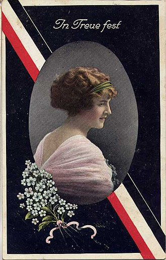 "In Treue fest - Field postcard with the ""In Treue fest"" motto, with the colours of the German Empire and the portrait of a woman, sent from Osnabrück in January 1916."