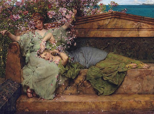 In a rose garden, by Lawrence Alma Tadema