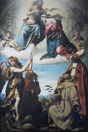 Santi Nazaro e Celso, Brescia - Moretto, Coronation of the Virgin with Saints Michael Archangel, Joseph, Francis of Assisi, and Nicola of Bari
