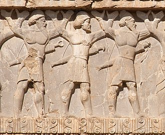 Indian campaign of Alexander the Great - Ancient Indian warriors (from left to right: Sattagydian, Gandharan, Hindush) circa 480 BCE. Naqsh-e Rostam reliefs of Xerxes I.
