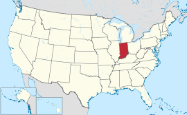Map of the United States with Indiana highlighted
