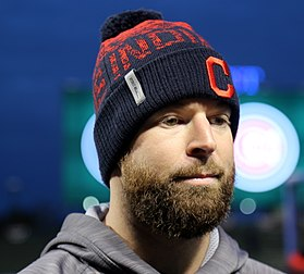 Indians pitcher Corey Kluber looks on during an interview at Wrigley Field. (30555034771).jpg