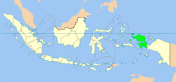 Kaart van de Provincie West-Papoea in Indonesië