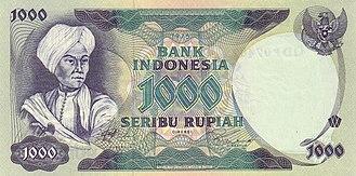 Diponegoro - Diponegoro in a 1975 1000 Rupiah banknote