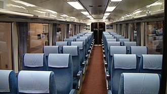 Odakyu 10000 series HiSE - Image: Inside of Odakyu Romance Car Hi SE Blue