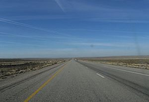 Interstate 70 in Utah - Looking west on I-70 across Sagers Flat