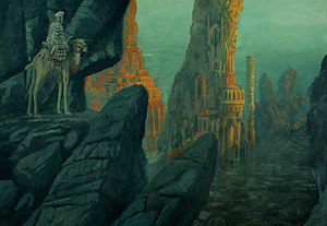 Iram of the Pillars - Artistic depiction of Iram of the Pillars, of Arabian mythology.