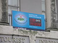 Island Games 2011 countdown clock at Newport Guildhall.JPG