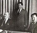 Israel's Cabinet Secretary Ze'ev Sherf reporting to President Chaim Weizmann and to Knesset Speaker Yosef Sprinzak c. 1952 (cropped).jpg