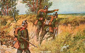 Jäger (infantry) - Jägerpatrouille, painting by Richard Knötel (1910)