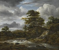 Jacob van Ruisdael - Low Waterfall in a Hilly Landscape with a Thatched Cottage.jpg