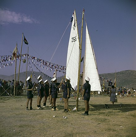 A demonstration by Netherlands Sea Scouts at the 11th World Scout Jamboree in Greece, 1963. Jamboree1963SeaScouts.jpg