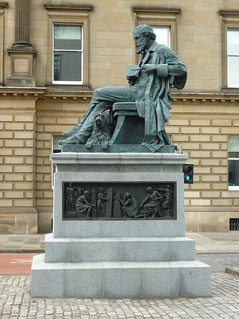 The James Clerk Maxwell Monument in Edinburgh, by Alexander Stoddart. Commissioned by The Royal Society of Edinburgh; unveiled in 2008. James Clerk Maxwell statue in George Street, Edinburgh.jpg