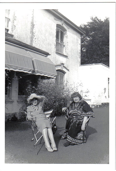 File:Jean Rhys (left, in hat) with Mollie Stoner, Velthams, 1970s A.jpg