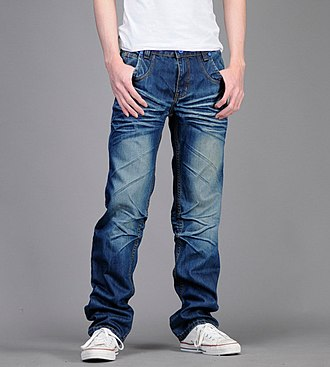 Jeans - A pair of factory-distressed, loose fit men's jeans