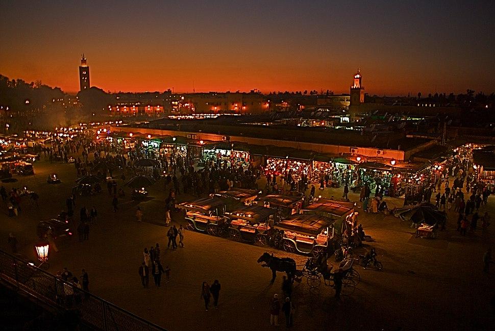 Jemaa el-Fnaa at night