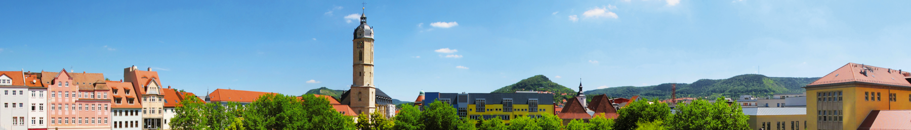 Panoramic view on the Eichplatz in Jena from the viewing platform of the JenTower, viewing direction to the market square