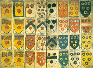 Ordinary of arms - Extract from William Jenyn's Ordinary of c.1360, showing two pages of arms featuring roundels and annulets