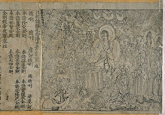 Post-classical history - The Diamond Sutra, of Dunhuang, China was published in 868 AD as the first printed book in world history using woodblock printing techniques. This image is a front piece for the book which was instrumental in spreading East-Asian Buddhism.  Post-classical times were an era of religion. Matters of faith took part in the development of political power and in the personal lives of most ordinary people in both the New and Old World. Geographic regions were often divided based on a location's religious affiliation.