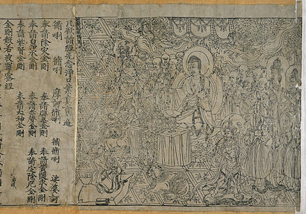 The Diamond Sutra, printed in 868, is the world's first widely printed book to include a specific date of printing. Jingangjing.jpg