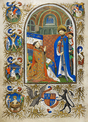 John of Lancaster, 1st Duke of Bedford - John of Lancaster, 1st Duke of Bedford, Knight of the Garter, kneels before Saint George who wears the blue mantle of the Order of the Garter. Illuminated miniature from the Bedford Hours, formerly in the Duke's private library