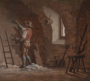 Plaster - Early 19th Century plasterer at work - painting by John Cranch (1751–1821).