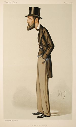 "John Dillon - ""The Plan of Campaign"". Caricature by Ape published in Vanity Fair in 1887."