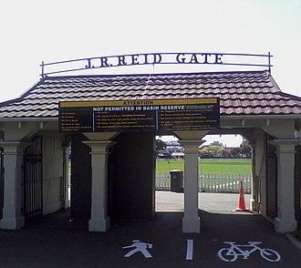 John Richard Reid - The John R. Reid Gate at the Basin Reserve, Wellington.