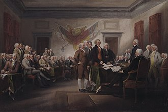 Declaration of Independence (Trumbull) - The Declaration of Independence, July 4, 1776, John Trumbull, (1786–1820), Yale University Art Gallery