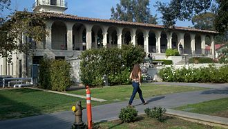 "Occidental College - This is the Occidental College balcony that leads to the Market Place dining hall and the on campus cafe called ""The Green Bean"""
