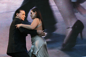 Juan Carlos Copes - Copes performs at the 2011 Tango Day, in Buenos Aires, with his daughter Johana