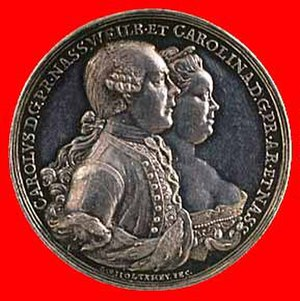 Charles Christian, Prince of Nassau-Weilburg - Prince Charles Christian portrayed on a medal with his wife Princess Carolina of Orange-Nassau