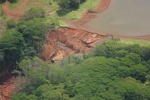 Ka Loko Reservoir - Aerial photo of the Ka Loko Dam breach