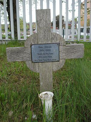 Karl Denver - Karl Denver's wooden grave marker, Stockport Cemetery