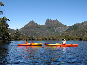 Outline of canoeing and kayaking - Kayaking on Dove Lake, Tasmania