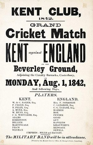 Kent County Cricket Club - Poster for 1842 England XI game immediately before the foundation of the Kent County Club