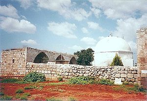 Benjamin - An exterior view of a Mamluk caravanserai complex, including the mausoleum of Nabi Yamin, traditionally believed to be the tomb of Benjamin, located outside Kfar Saba, Israel.