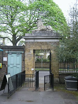 Coade stone - Lion Gate, an entrance into Kew Gardens, with its Coade stone lion statue on top.