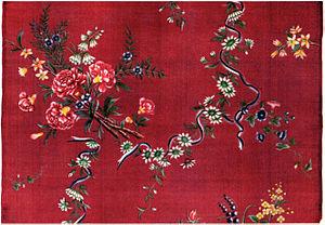 1733 in Sweden - Kinesiskt siden med målat mönster, 1700-talet.
