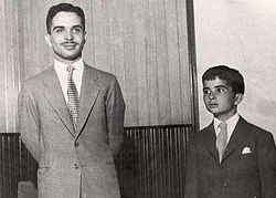 King Hussein I of Jordan with Prince Hassan bin Talal (1960).jpg