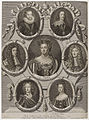 King James I of England and VI of Scotland; King Charles I; King Charles II; Queen Anne; King James II; William, Duke of Gloucester; Queen Mary II by Sir Godfrey Kneller, Bt.jpg