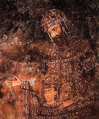 Stefan Dragutin - Dragutin and his father, Stefan Uroš I (a fresco in Sopoćani)