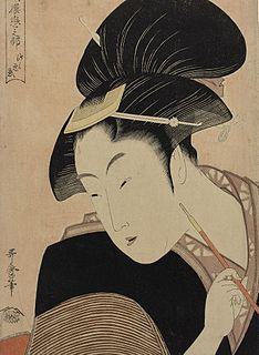 series of five ukiyo-e prints designed by the Japanese artist Utamaro