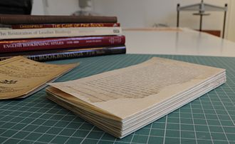 Book rebinding - A book whose pages have been restored, which is now ready for rebinding