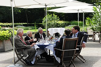 Prime Minister of the Netherlands - Living Prime Ministers of the Netherlands at a lunch organised by the incumbent Mark Rutte on 5 July 2011. From left to right: Wim Kok, Piet de Jong, Ruud Lubbers, Jan Peter Balkenende, Dries van Agt, and Mark Rutte.