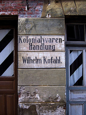 Colonial goods - Advertisement in the old city centre of Wismar
