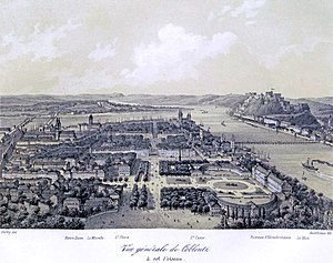 Electoral Palace, Koblenz - Aerial view of the palace, Koblenz and the Rhine, second half of the 19th century